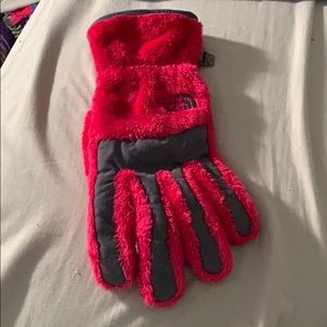 The North Face pink furry gloves